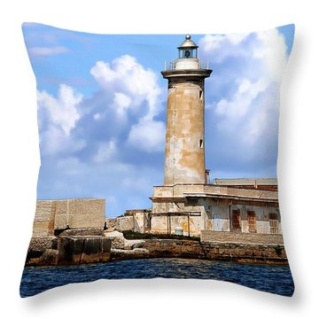Marsala Lighthouse Throw Pillow