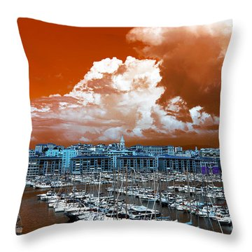 Throw Pillow featuring the photograph Marseille Old Port Pop Art by John Rizzuto