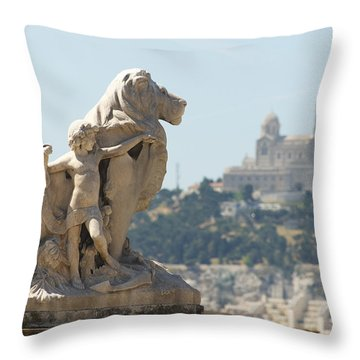 Marseille-saint-charles Statue, France Throw Pillow