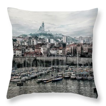 Throw Pillow featuring the photograph Marseilles France Harbor by Alan Toepfer