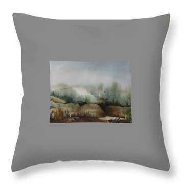 Throw Pillow featuring the painting Marsh by Anna  Duyunova