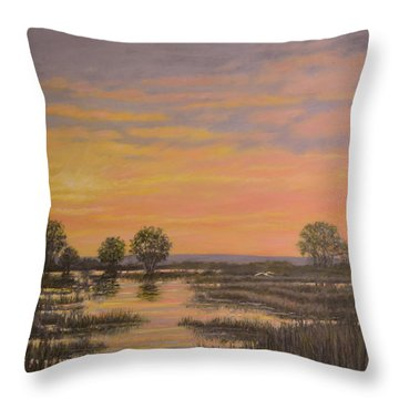 Throw Pillow featuring the painting Marsh At Sunset by Kathleen McDermott