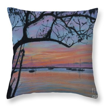 Marsh Harbour At Sunset Throw Pillow