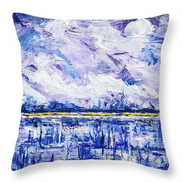 Throw Pillow featuring the painting Marsh Madness by Kathryn Riley Parker
