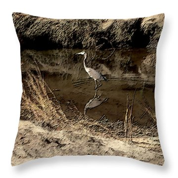 Marsh Bird Throw Pillow