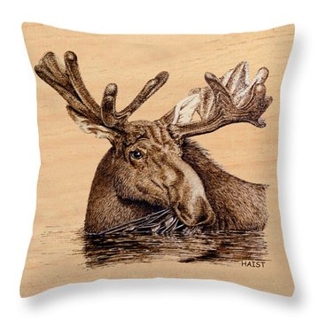 Marsh Moose Pillow/bag Throw Pillow by Ron Haist