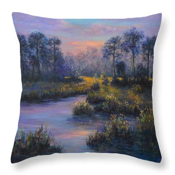 Marsh Sunset Nature Wetland Trees Print Of Panting Throw Pillow