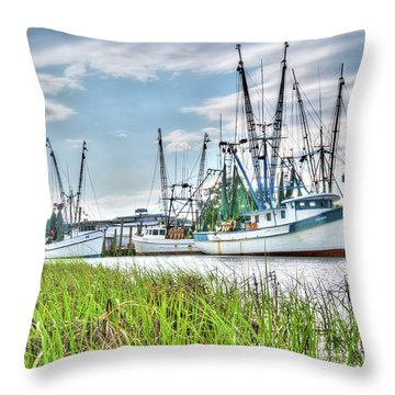 Marsh View Shrimp Boats Throw Pillow