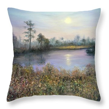 Marsh Wetland Moon Landscape Painting Throw Pillow
