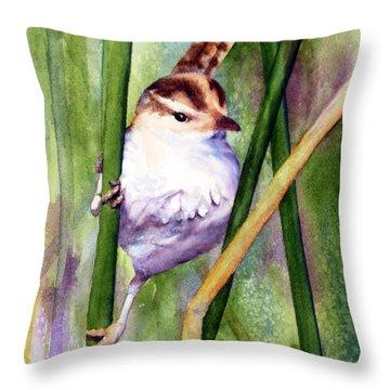 Silver Creek Marsh Wren Throw Pillow