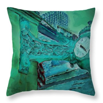 Throw Pillow featuring the painting Marshall Fields Clock Chicago by M Zimmerman