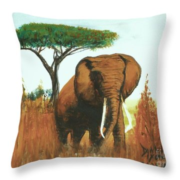 Throw Pillow featuring the painting Marsha's Elephant by Donna Dixon