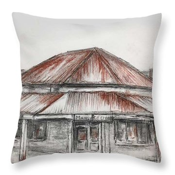 Marsh's Corner Store Throw Pillow