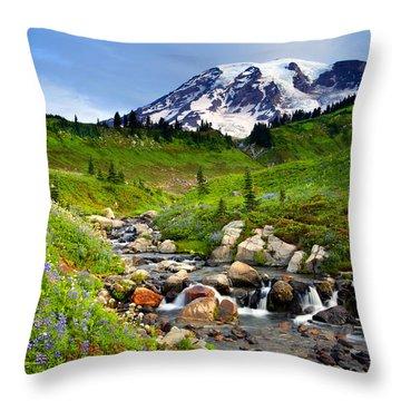 Martha Creek Wildflowers Throw Pillow by Mike  Dawson
