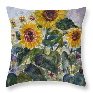 Martha's Sunflowers Throw Pillow