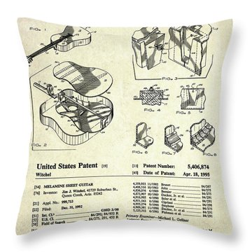 Martin Guitar Patent Art Throw Pillow