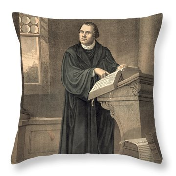 Martin Luther In His Study Throw Pillow