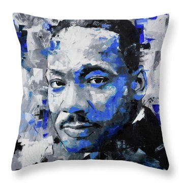 Throw Pillow featuring the painting Martin Luther King Jr by Richard Day
