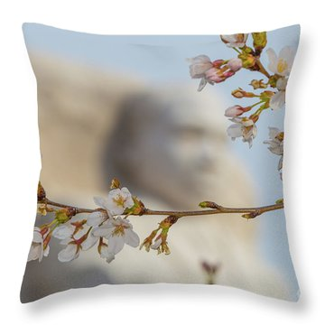 Martin Luther King Memorial And Cherry Blossoms II Throw Pillow