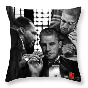 Martin Malcolm Barack And The Red Rose Throw Pillow by Reggie Duffie