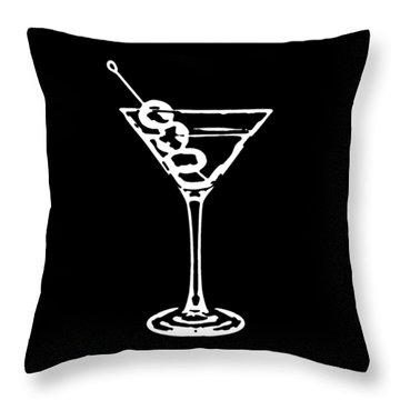 Martini Glass Tee White Throw Pillow by Edward Fielding