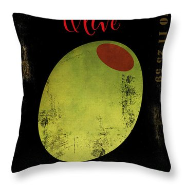 Martini Olive Throw Pillow