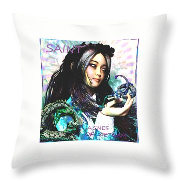 Throw Pillow featuring the painting Martyr Of Vietnam Saint Agnes Le Thi Thanh by Suzanne Silvir