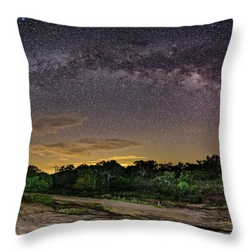 Marveling At The Creation Of God - Milky Way Panorama At Enchanted Rock - Texas Hill Country Throw Pillow
