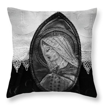Mary Altar Cloth Throw Pillow by Jeanette O'Toole
