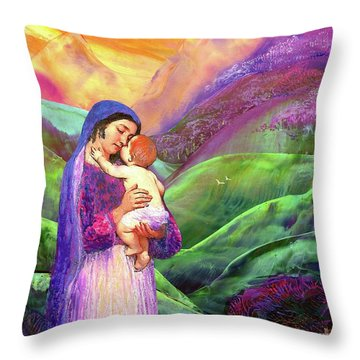 Mary And Baby Jesus Gift Of Love Throw Pillow