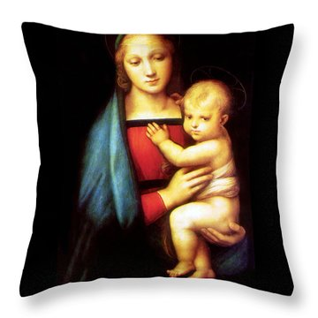 Mary And Baby Jesus Throw Pillow by Munir Alawi