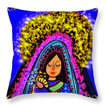 Crowned Mary And Baby Jesus Throw Pillow