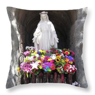 Throw Pillow featuring the photograph Mary At The Mission by Mary Ellen Frazee