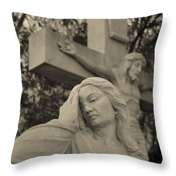 Mary Magdalene At The Crucifixion Throw Pillow