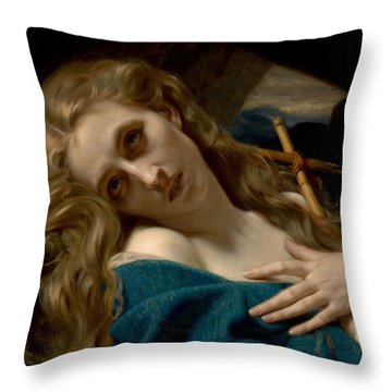 Mary Magdalene In The Cave Throw Pillow by Hugues Merle
