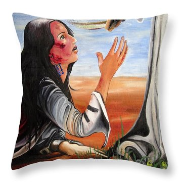 Throw Pillow featuring the painting Mary Magdalene by Mary Ellen Frazee