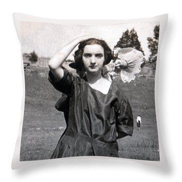 Throw Pillow featuring the painting Mary Neal 02 by Rick Baldwin