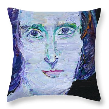 Throw Pillow featuring the painting Mary Shelley - Oil Portrait by Fabrizio Cassetta