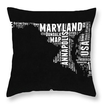 Maryland Black And White Map Throw Pillow