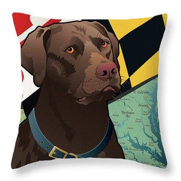 Maryland Chocolate Lab Throw Pillow
