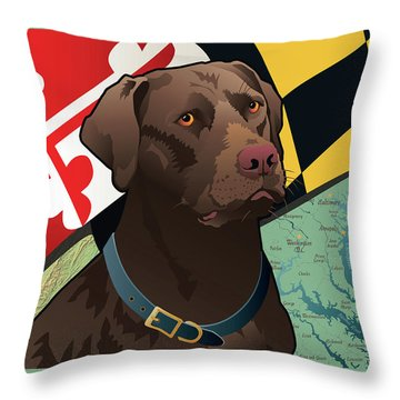 Maryland Chocolate Lab Throw Pillow