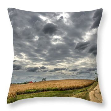 Maryland Country Road In Autumn At Twilight Throw Pillow