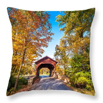 Maryland Covered Bridge In Autumn Throw Pillow
