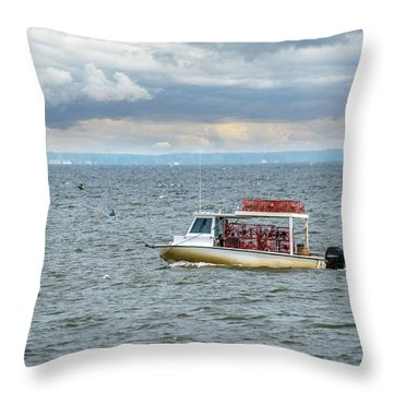 Maryland Crab Boat Fishing On The Chesapeake Bay Throw Pillow
