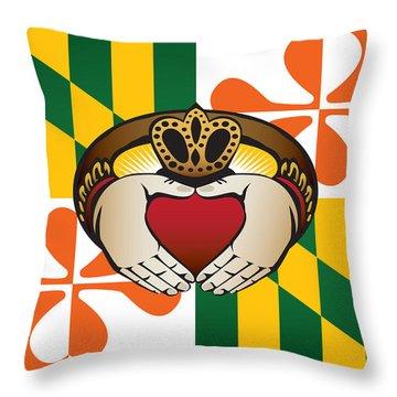 Maryland Irish Claddagh Art Throw Pillow