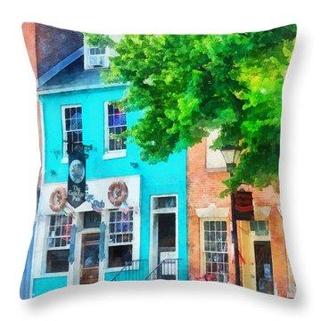 Maryland - Neighborhood Pub Fells Point Md Throw Pillow by Susan Savad