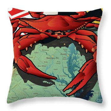 Maryland Red Crab Throw Pillow