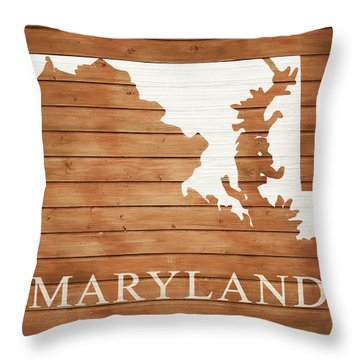 Maryland Rustic Map On Wood Throw Pillow