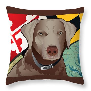 Maryland Silver Lab Throw Pillow