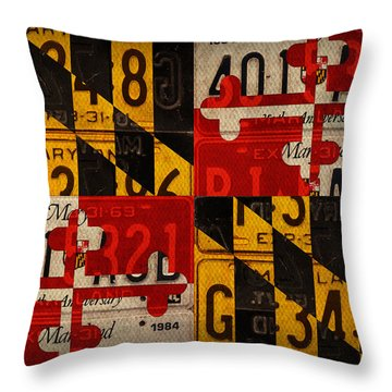 Maryland State Flag Recycled Vintage License Plate Art Throw Pillow by Design Turnpike